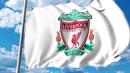 리버풀 축구 팀 로고와 깃발을 흔들며. Editorial 3D rendering 에디토리얼