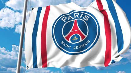 Waving flag with Paris Saint Germain football team logo. Editorial 3D rendering Editorial