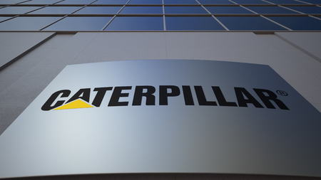 manufacturer: Outdoor signage board with Caterpillar Inc. logo. Modern office building. Editorial 3D rendering