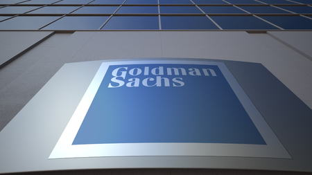 Outdoor signage board with The Goldman Sachs Group, Inc. logo. Modern office building. Editorial 3D rendering