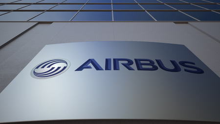 Outdoor signage board with Airbus logo. Modern office building. Editorial 3D rendering