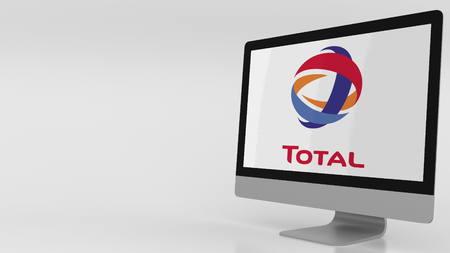 Modern computerscherm met Total-logo. Redactioneel 3D-rendering Redactioneel