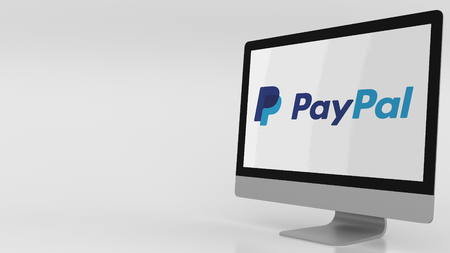 Modern computer screen with Paypal logo. Editorial 3D rendering