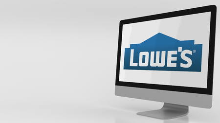Modern computer screen with Lowes logo. Editorial 3D rendering