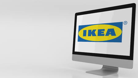 Modern computer screen with Ikea logo. Editorial 3D rendering