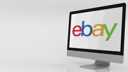 ebay: Modern computer screen with Ebay logo. Editorial 3D rendering Editorial