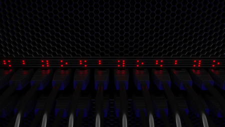Server connectors and flashing red LEDs. Connection, network, cloud technology, big data or e-commerce concepts. 3D rendering