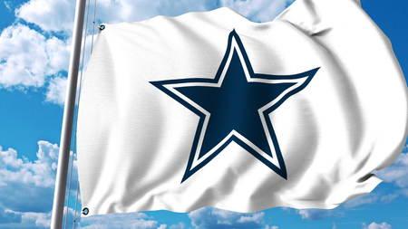 Bandera que agita con el logotipo del equipo profesional de Dallas Cowboys. Editorial representación 3D