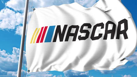 Waving flag with Nascar logo. Editorial 3D rendering
