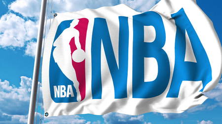 Waving flag with NBA logo. Editorial 3D rendering 에디토리얼