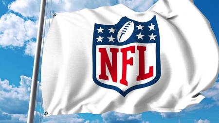 Waving flag with NFL logo. Editorial 3D rendering