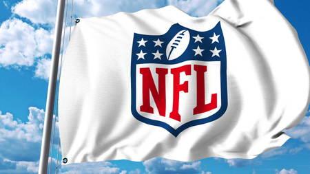 NFL 로고와 깃발을 흔들며. Editorial 3D rendering