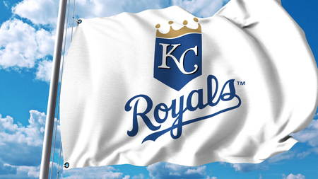 Waving flag with Kansas City Royals professional team logo. Editorial 3D rendering