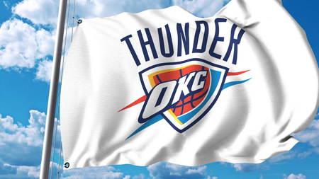 Waving Flag With Oklahoma City Thunder Professional Team Logo