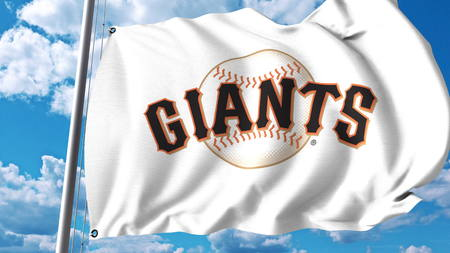 Waving flag with San Francisco Giants professional team logo. Editorial 3D rendering Sajtókép