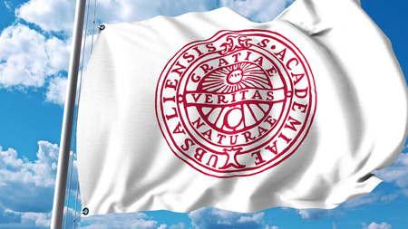 Waving flag with Uppsala University emblem. Editorial 3D rendering