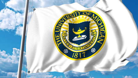 Waving flag with University of Michigan emblem. Editorial 3D rendering Editorial