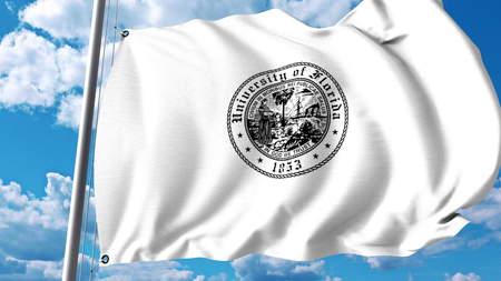 Waving flag with University of Florida emblem. Editorial 3D rendering