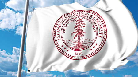 Waving flag with Stanford University emblem. Editorial 3D rendering Editorial
