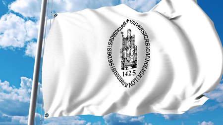 Wapperende vlag met embleem Ku Leuven. Redactioneel 3D-rendering Redactioneel