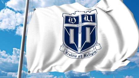 Waving flag with Duke University emblem