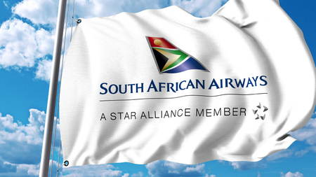 Waving flag with South African Airways logo. 3D rendering