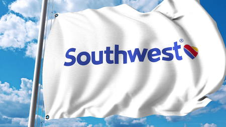 Waving flag with Southwest Airlines logo. 3D rendering Editorial