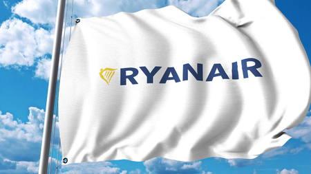Waving flag with Ryanair logo. 3D rendering