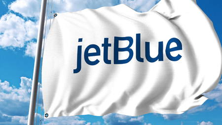 jetblue: Waving flag with Jetblue logo. 3D rendering