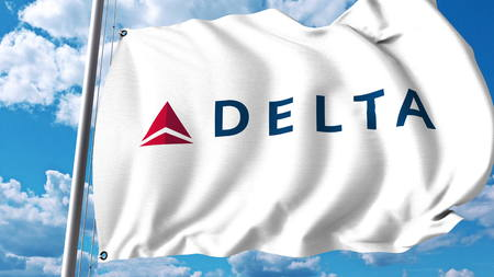 Waving flag with Delta Air Lines logo. 3D rendering Stock Photo - 81827601