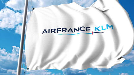 Waving flag with Air France KLM logo. 3D rendering