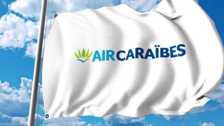 Agitant le drapeau avec le logo Air Caraïbes. Rendu 3D