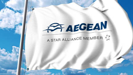 Waving flag with Aegean Airlines logo. 3D rendering