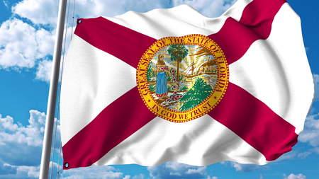 플로리다의 깃발을 흔들며. 3D 렌더링 스톡 콘텐츠