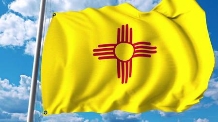 뉴 멕시코의 깃발을 흔들며. 3D 렌더링