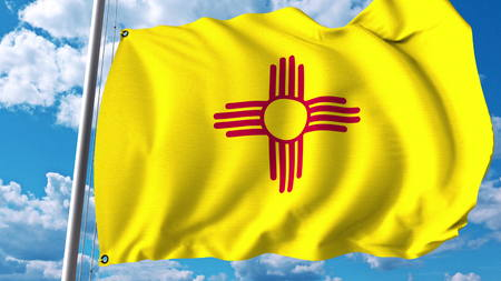 Waving flag of New Mexico. 3D rendering