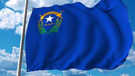 Waving flag of Nevada. 3D rendering Stock Photo