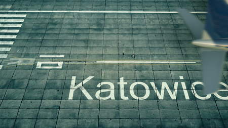Aerial view of an airplane arriving to Katowice airport. Travel to Poland 3D rendering