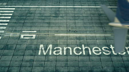 Aerial view of an airplane arriving to Manchester airport. Travel to United Kingdom 3D rendering Banco de Imagens