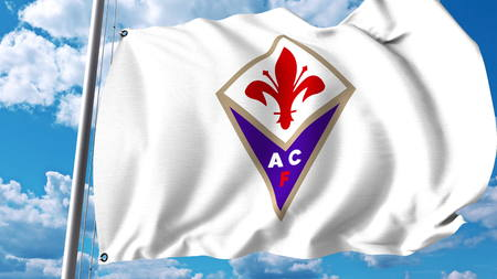 Waving flag with Fiorentina football club logo. Editorial 3D rendering