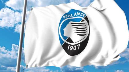 Waving flag with Atalanta football club logo. Editorial 3D rendering