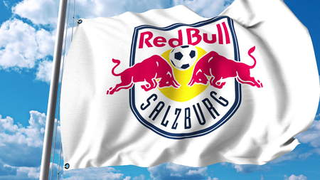 Waving flag with FC Red Bull Salzburg football club logo. Editorial 3D rendering
