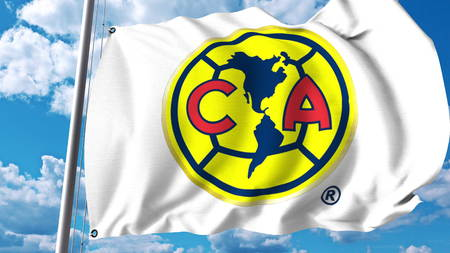 Waving flag with Club America football club logo. Editorial 3D rendering Stock Photo - 82137622
