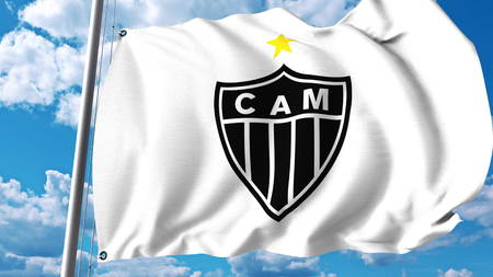 Waving flag with Clube Atletico Mineiro football club logo. Editorial 3D rendering