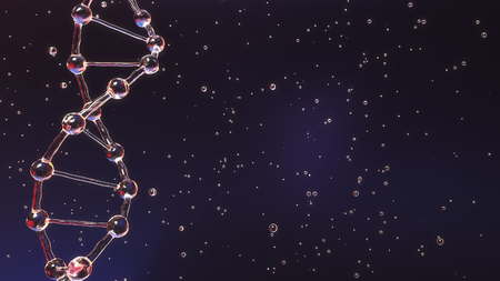 Transparent DNA molecule and floating particles. Modern medicine or genetic research related background. 3D rendering