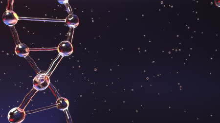 DNA molecule close-up and multiple particles. Heredity, medicine or genetic research related background. 3D rendering Archivio Fotografico