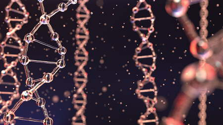 DNA molecules and floating particles. Heredity, biochemistry, modern medicine or genetic research concepts. 3D rendering