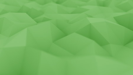 Abstract polygonal green surface, shallow focus close-up. 3D rendering Stock Photo