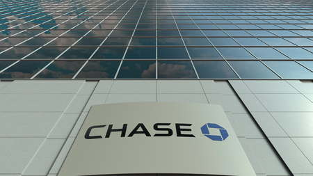 Signage board with JPMorgan Chase Bank logo. Modern office building facade. Editorial 3D rendering