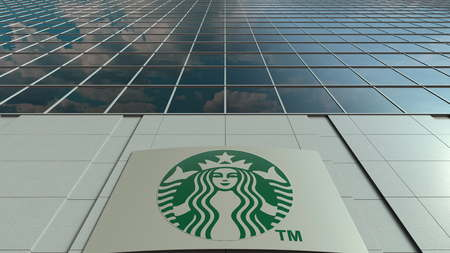 Signage board with Starbucks logo. Modern office building facade. Editorial 3D rendering